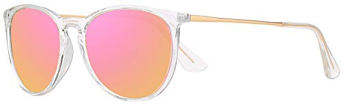 Vintage Round Polarized Transparent and Gold Frame with Pink Mirror Lens Sunglasses With Case and Cloth