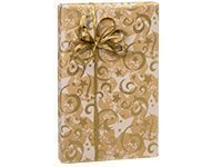 GOLD SWIRLING STARS Kraft Christmas Holiday Gift Wrap Paper