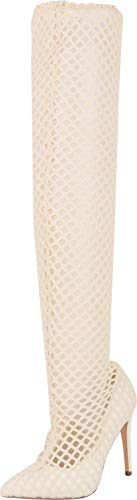 Cambridge Select Women's Pointed Toe Caged Laser Cutout Stiletto High Heel Over The Knee Boot,7 B(M) US,Beige