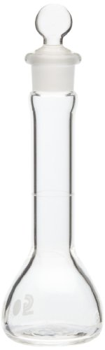 Chemglass CG-1615-20 Glass 20mL +/- 0.08mL Flat Bottom Heavy Duty Wide Mouth Volumetric Flask, with Glass Stopper, 128mm Height