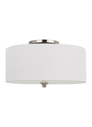 Sea Gull Lighting 75952EN3-962 Stirling Two-Light Flush Mount Ceiling Light with Glass Diffuser and White Linen Fabric Shade, Brushed Nickel Finish