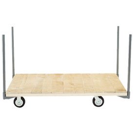 "Stake Handle Platform Truck w/Hardwood Deck, 60 x 30, 5"" Rubber Casters, 1400 Lb. Capacity"