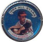 1964 Topps Metal Coins (Baseball) Card# 127 luis aparicio of the Baltimore Orioles Ex Condition