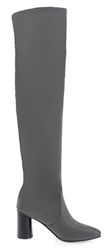 Aisun Womens Simple Dressy Slim Stretchy Pull On High Chunky Heels Pointed Toe Over The Knee Boots Gray 9oDXi