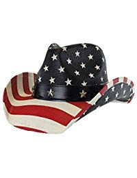 Vintage USA American Flag Cowboy Hat w/ Western Shape-It Brim, Premium Stars and Stripes, One ()