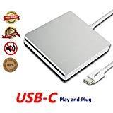 DVD Drive CD Burner DVD/CD-ROM,External Portable Type-C Super CD/DVD +/-RW Rewrite for Latest Mac Pro/MacBook Pro/ASUS/DELL Latitude with USB-C Port (c, Silver)