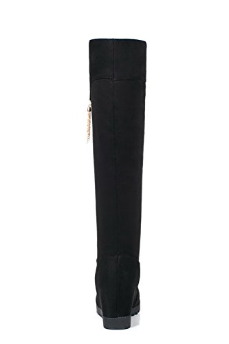 Mid on Pull Heel Inside Black Suede Flatform ABL09682 Heighten BalaMasa Womens Boots Zw7Aq5H