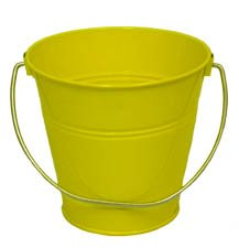 6 pack Metal Bucket, Metal Bucket Yellow Solid Colors 4.3x4