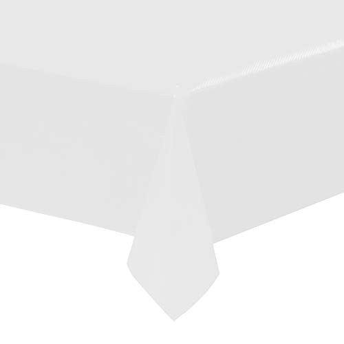 White Plastic Tablecloths - 12-Pack, 54 x 108 Inches Table Cloths, Rectangular Disposable Table Covers, Fits up to 8-Foot Long, Buffet Banquets or Long Picnic Tables, Party Decoration Supplies, 4.5 x]()