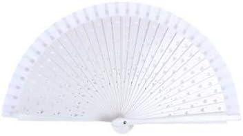 Abanico de Madera Blanco con calado De Corazones - Abanicos de corazones, calados, baratos, blancos ideales para Detalles de Bodas, Bautizos, Comuniones