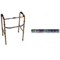 Geriatric - floral Canterbury Pattern Medical Walker. This fashionable, yet functional geriatric walker is lightweight and folds in seconds. Constructed of aircraft quality aluminum, this folding walker supports up to 250 lbs. and has convenient height ad