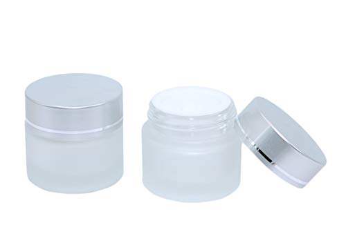 19 Pack 10g Cosmetic Jars,Makeup Containers Frosted Glass Jar Travel Sample Pot Face Cream Packing Bottles For Lotion Lip Balm Ointment(silver lids)