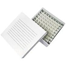 "Alkali Scientific SB2CC-81 White 2"" Cardboard Freezer Box with 81-Cell Divider, 5-1/4"" L x 5-1/4"" W x 2"" H (Pack of 10)"