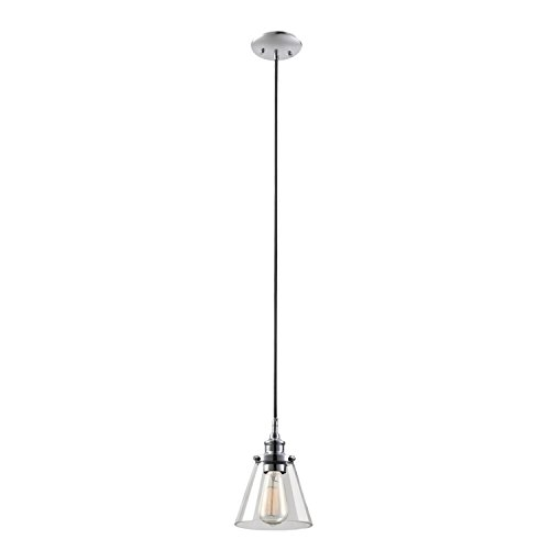 Globe pendants amazon globe electric 65381 mercer 1 light vintage industrial hanging pendant polished chrome finish clear glass shade black woven fabric cord aloadofball Image collections