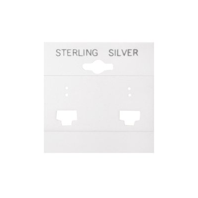 100 Plastic French Clip Earring Hanging Card 2x2 White STERLING SILVER