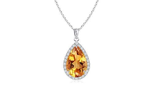 Pear Citrine Pendant - Verona Jewelers Sterling Silver Genuine Gemstone Halo Teardrop Pendant Necklace for Women- 18