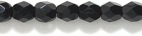 Preciosa Czech 4-mm Fire-Polished Glass Bead, Faceted Round, Black, 300/pack