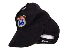 White Rim Baseball sytle Cap Hat Black and White US Route Rte 66