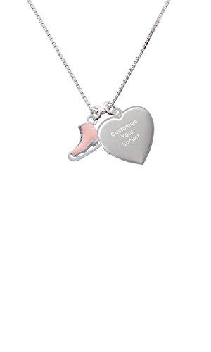 3-D Pink Ice Skate Custom Engraved Heart Locket (Heart Skate)
