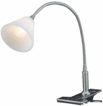 Eye Clip On Desk Lamp Gooseneck Clip On Polished Satin Trumpet Frosted Shade