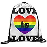 VOLTE Love Is Love Gay Marriage Drawstring Bags Travel White Backpack Sport Bag For Men & Women School Travel Backpack For Teens College
