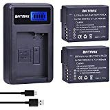 #10: Batmax 2Pcs DMW-BLC12 DMW-BLC12E BLC12 Battery + USB LCD Charger for Panasonic DMW-BLC12 Battery Lumix DMC-FZ200 FZ300 FZ1000 FZ2500 G5 G6 G7 GX8 G85 Cameras