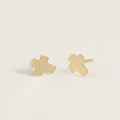 Polished Flat Cross Stud Earrings for Women & Girls - Hypoallergenic for Sensitive Ears ()