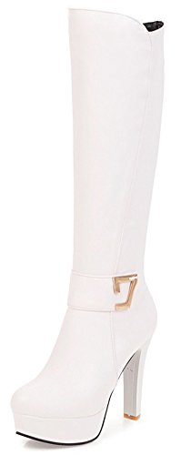 Aisun Damen Kunstleder Schnalle Plateau Trichterabsatz High Heels Reißverschluss Langschaft Stiefel Weiß