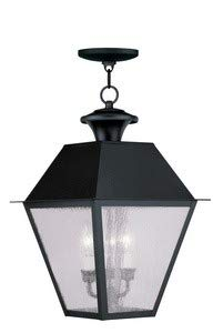 Livex Lighting 2170-04 Mansfield - Three Light Outdoor Hanging Lantern, Black Finish with Seeded Glass