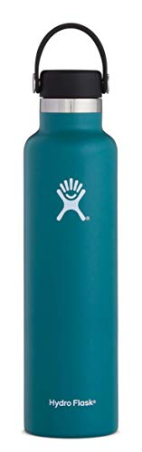 Hydro Flask 24 oz Water Bottle - Stainless Steel & Vacuum Insulated - Standard Mouth with Leak Proof Flex Cap - Jade