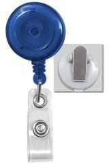 Royal Blue Round Translucent Plastic Badge Reel - Spring Clip - Clear Vinyl Strap (100pk)