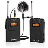 BOYA BY-WM6 UHF Professional Wireless Omnidirectional Lavalier Lapel Microphone System with 48 Optional Channels for Canon...