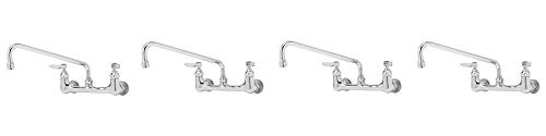 T S Brass B-0231 Polished Chrome Service Sink faucet with 12 swing nozzle. 8 Wall Mount with Lever Handles and Stream Regulator Outlet. 4