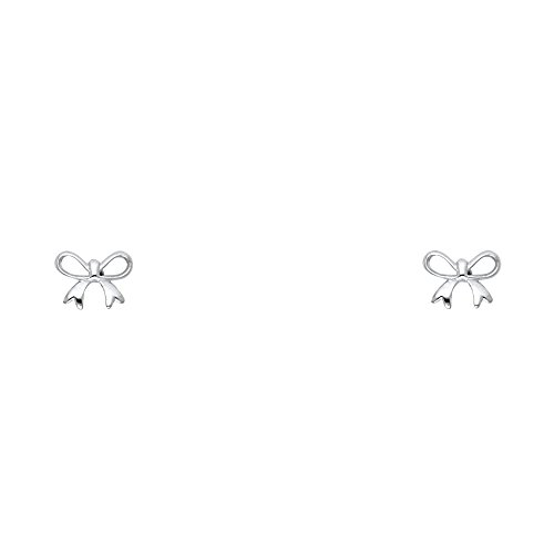 Gold Earrings White Ribbon (14k White Gold Ribbon Stud Earrings with Screw Back)