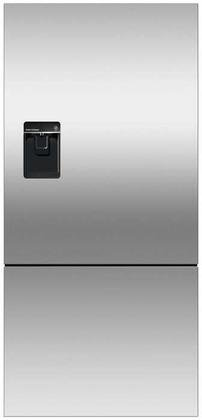 Fisher Paykel RF170BLPUX6 Bottom Mount Counter Depth Refrigerator with 17.6 Cu. Ft. Total Capacity Ice and Water Dispenser Left Hinged Door Door Storage and Pocket Handle in Stainless