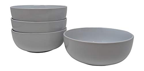 Gianna's Home Stoneware Soup Salad Cereal Bowls 6 1/2 in. Ceramic 28 oz, Set of 4 (White)