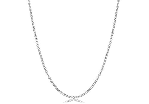 Verona Jewelers 925 Sterling Silver 1.5MM 2MM 2.5MM Circle Rolo Link Chain Necklace- Rolo Link Necklace for Women, Necklace for Pendant,16,18,20,24,30 (16, ()