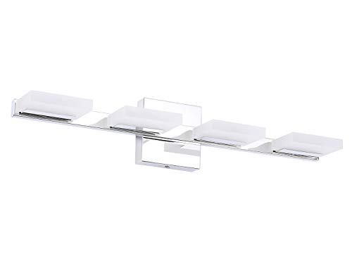 "TRLIFE LED Vanity Light, 24.8inches Modern 4 Lights LED Bathroom Light Fixture 20W Cool White 6000K Bathroom Lights Over Mirror - Specifications: The bathroom led light fixture size is 24.8"" x 4.72"" x 5.1"", 6000K Cool White. Material: stainless steel + frosted acrylic. Modern and Fashion: The 20w LED vanity light gives out plenty of light, looks very bright and gentle, perfect for your bathroom, makeup room, bedroom, living room, over hospital beds etc. Easy to Install: The bathroom vanity light comes in 4.72"" x 4.72"" square junction box cover, Fit a US standard junction box, connect to the reserved wire directly. Input voltage: 100-240V. - bathroom-lights, bathroom-fixtures-hardware, bathroom - 21oC557Z5NL -"