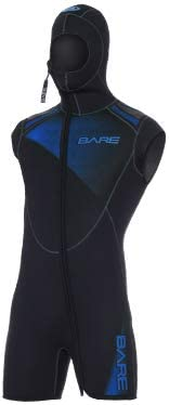 Bare 7mm Sport Men\'s Step-in Hooded Vest for Scuba Diving (Large-Short, Blue)