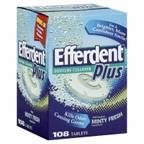 Efferdent Denture Cleanser, Extreme Minty Fresh, Tablets 108 Count (Pack of 6)