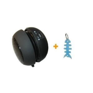 Portable Round Shape Mini Speaker + Light Blue Fishbone Style Keychain for iPod Touch, iPod Nano, iPod Classic, iPod Video, iPod Photo, Microsoft Zune 4GB/ 8GB/ 16GB/ 80GB/ 120GB, Sandisk Sansa clip, Sandisk Sansa Fuze, Sandisk Sansa View, Samsung YP-P2 / YP-P3, Creative Zen Vision M and Creative Zen Style (Sansa Fuze Speakers)