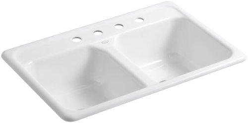 KOHLER K-5817-4-0 Delafield Self-Rimming Kitchen Sink, White (Cast Iron Porcelain Sink)