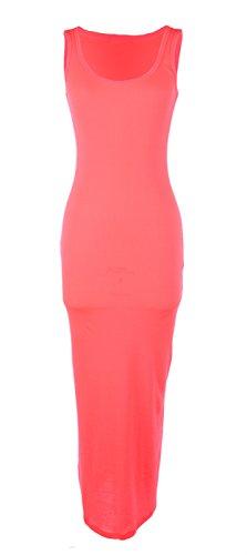 Ola Mari Ribbed Sleeveless Tank Maxi Dress, Large, Neon (Cebra One Light)