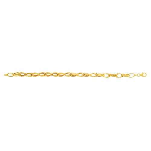 14K Yellow Gold Shiny Diamond Cut Double Row Type Oval Link Fancy Bracelet 7.5