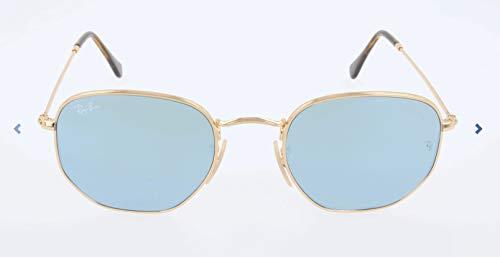 Shiny Grey Sunglasses - Ray-Ban RB3548N Hexagonal Flat Lenses Sunglasses, Shiny Gold/Grey Flash, 51 mm