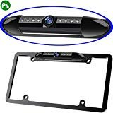 (Night Vision License Plate Frame Car Rearview Camera 8 Infrared LEDs Wide Viewing Angle Waterproof Sturdy Sleek Backup Camera High Sensitive Vehicle Universal Reversing Assist Security (Black))