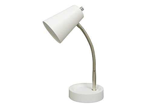 """Gooseneck LED Task Table Lamp with Built-in Tray - White (Max 15"""" Height)"""