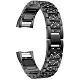 For Fitbit Charge 2 Bands Black, Aottom Fitbit Charge 2 Band Women Men Stainless Steel Rhinestone Glitter Smart Watch Replacement Band Metal Bracelet Wristband for Fitbit Charge 2 Fitness Accessories