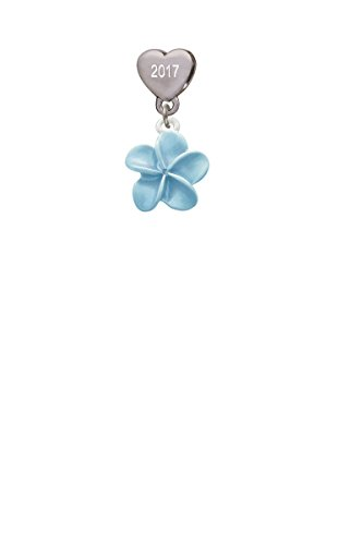 Blue Plumeria Flower Custom Year Stainless Steel Heart Bead Charm