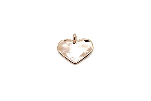 Vermeil 18K Shiny Rose Gold Dainty Flat Heart Charm Pendant Plated Over 925 Sterling Silver With Bail (18k Gold Heart Charm)